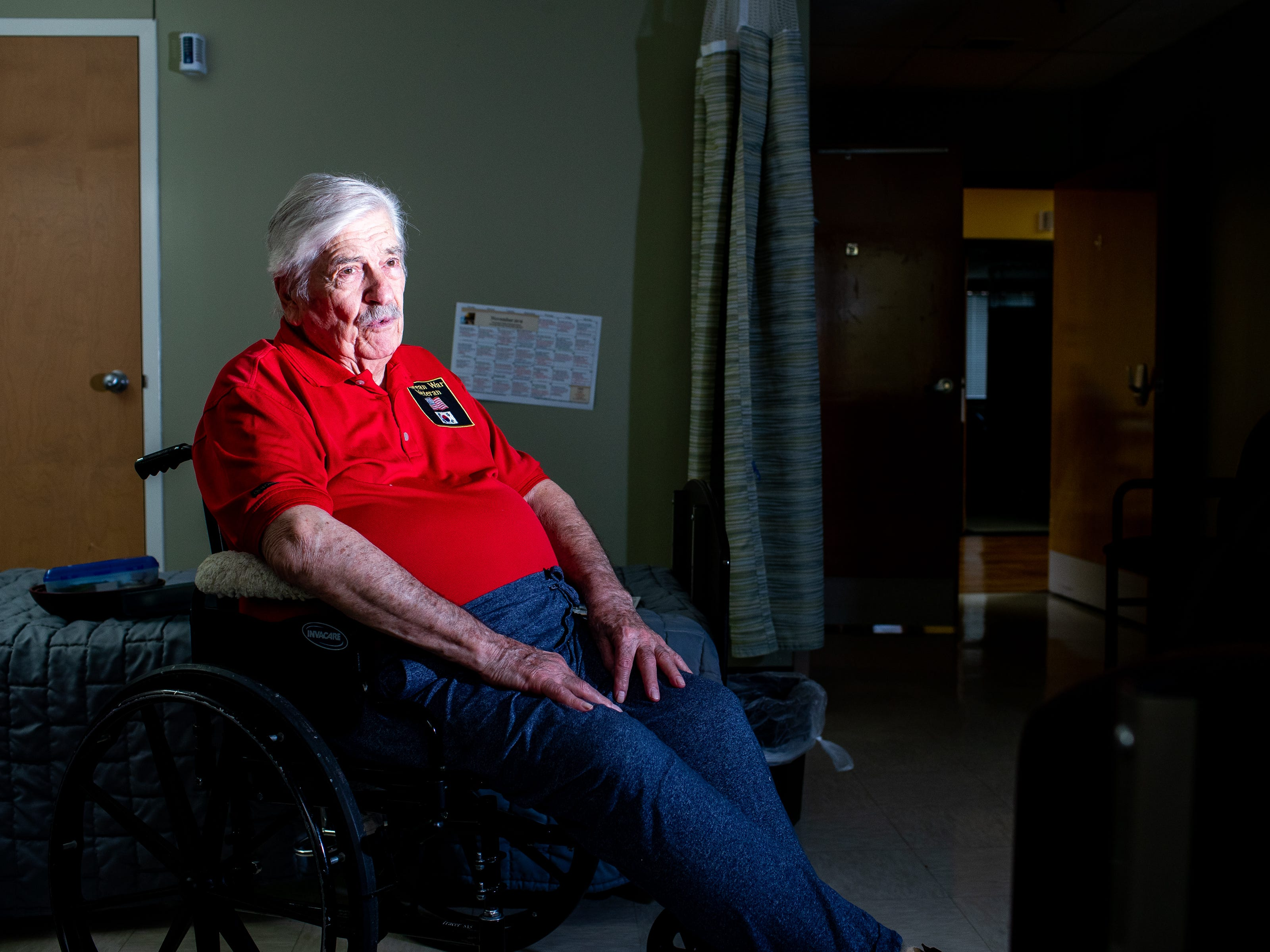 Bobby Smith sits in his wheelchair at the Tennessee State Veterans Home Friday, Nov. 2, 2018, in Murfreesboro, Tenn. Smith returned from Korea and like many other veterans wished to forget his time there.