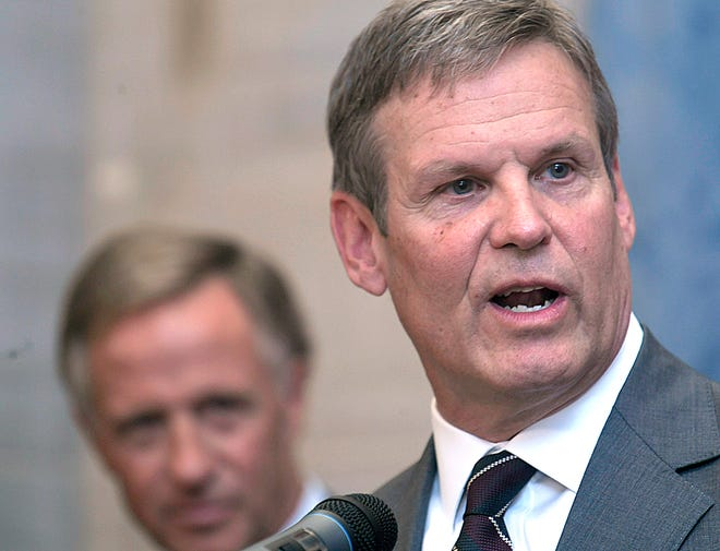 Gov.-elect Bill Lee and Gov. Bill Haslam hold a joint news conference Nov. 7, 2018, at the Tennessee state Capitol. Lee will be sworn is as Tennessee's 50th governor Jan. 19.