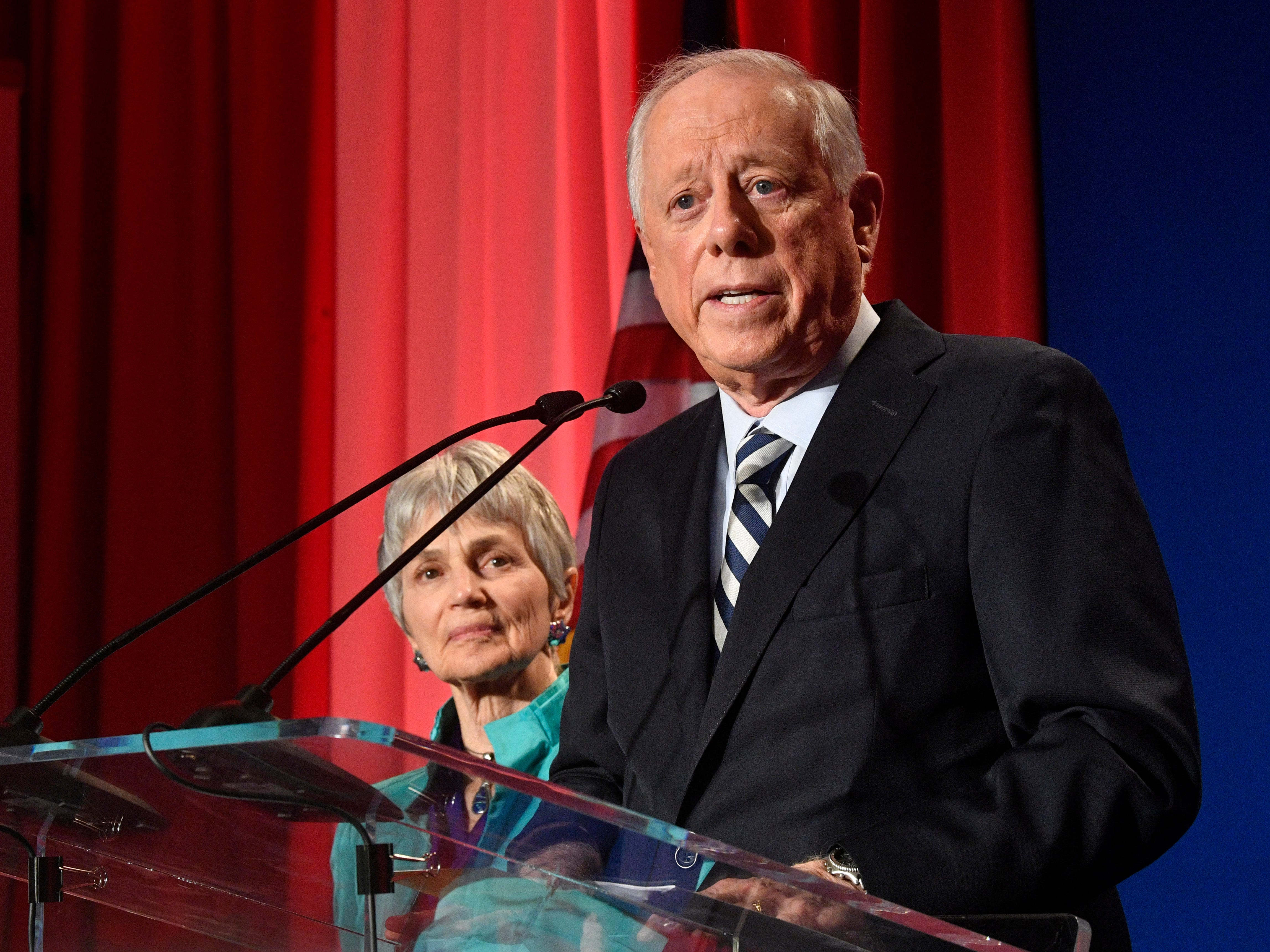 Democratic U.S. Senate candidate Phil Bredesen delivers his concession speech with his wife beside him at his campaign watch party at the Hilton Hotel Tuesday Nov. 6, 2018, in Nashville, Tenn.
