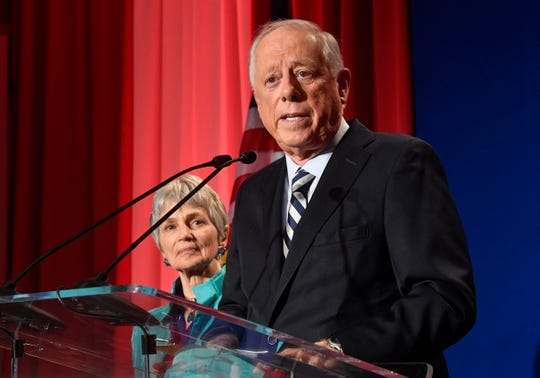 Democratic U.S. Senate candidate Phil Bredesen delivers his concession speech with his wife beside him at his campaign watch party at the Hilton Hotel in Nashville on Tuesday.