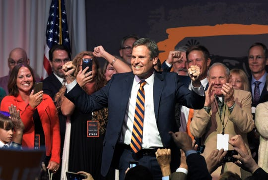 Tennessee Governor-elect Bill Lee celebrates his victory with supporters during the election party at the Factory in Franklin, Tenn. on Tuesday, Nov. 6, 2018.
