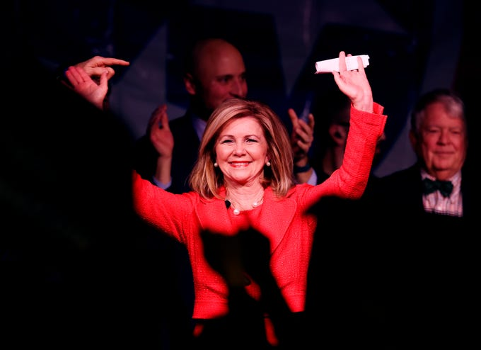 U.S. Senator-elect Marsha Blackburn speaks to supporters at the election night watch party Tuesday, Nov. 6, 2018, in Franklin, Tenn.