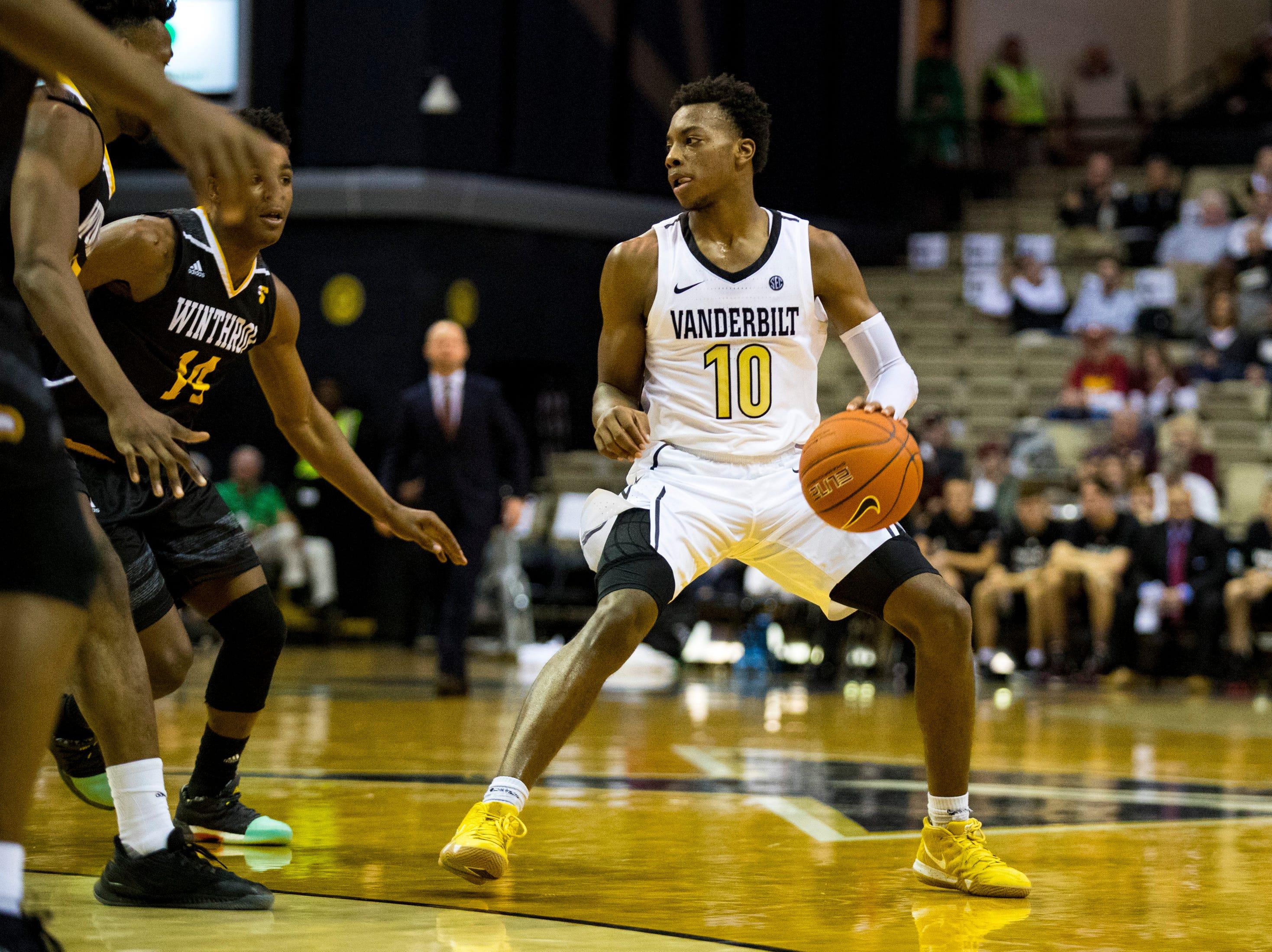 Vanderbilt's Darius Garland (10) dribbles during Vanderbilt's game against Winthrop at Memorial Gymnasium in Nashville on Tuesday, Nov. 6, 2018.