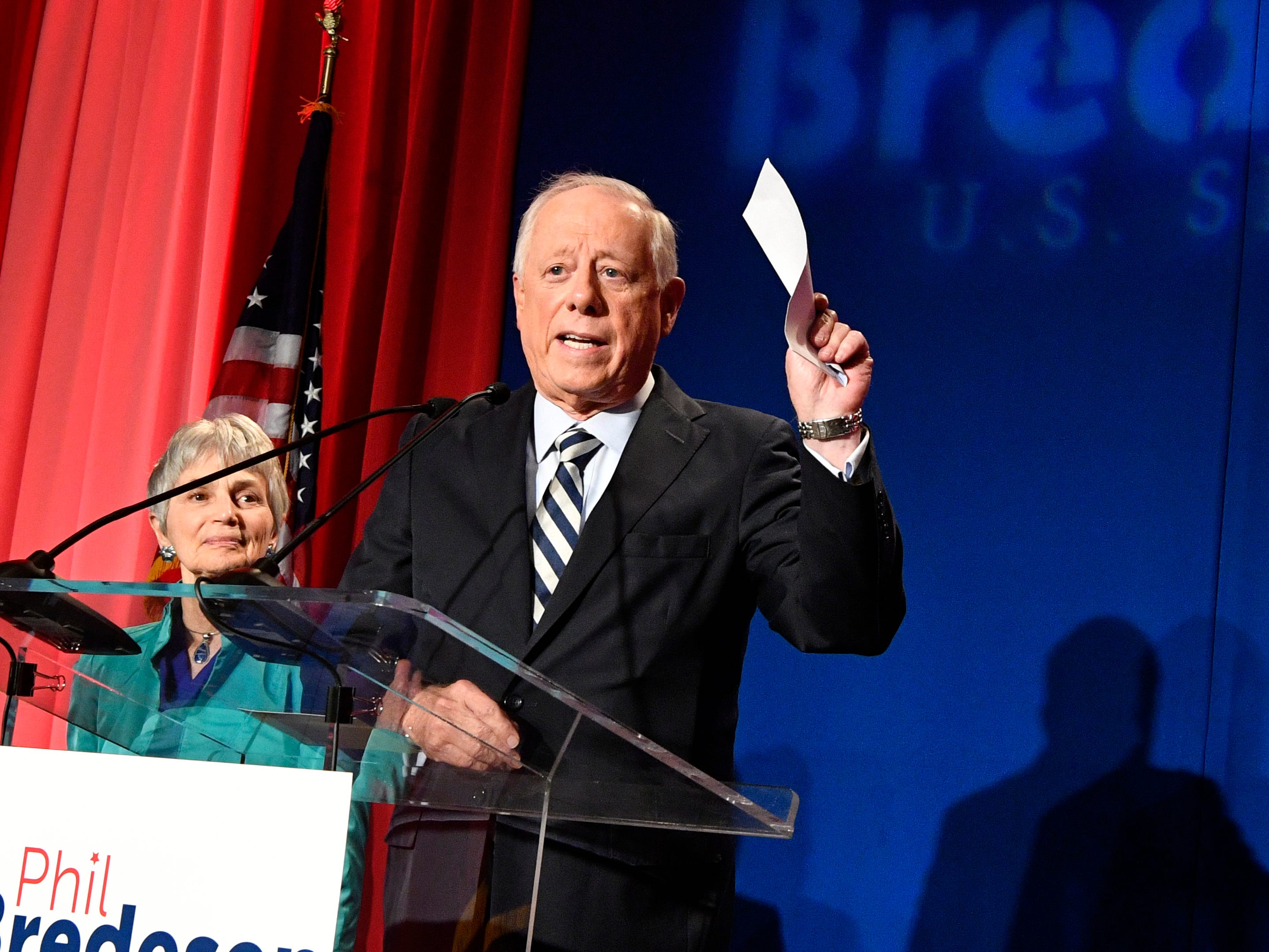 Democratic U.S. Senate candidate Phil Bredesen gives a concession speech as his wife Andrea Conte stands beside him at his campaign watch party at the Hilton Hotel Tuesday Nov. 6, 2018, in Nashville, Tenn.