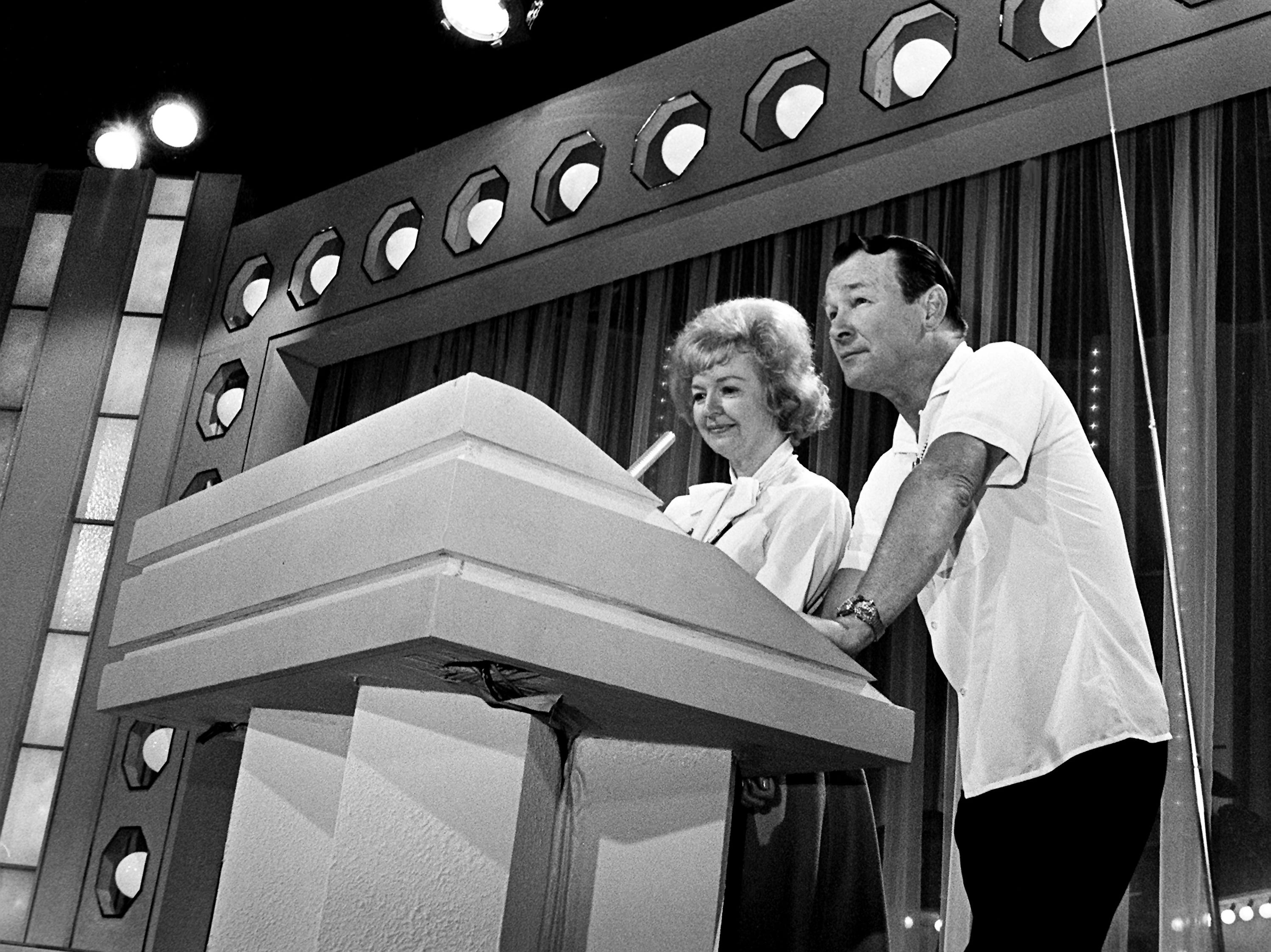 Emcees Roy Rogers and his wife, Dale Evans, practice during rehearsal at the Grand Ole Opry on Oct. 18, 1968, for that night's CMA Awards show.