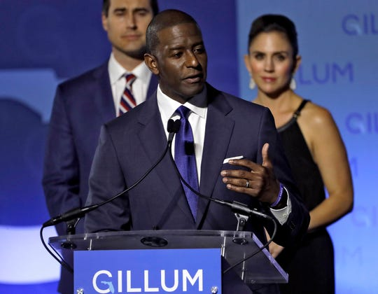 Florida Democratic gubernatorial candidate Andrew Gillum gives his concession speech Tuesday, Nov. 6, 2018, in Tallahassee.