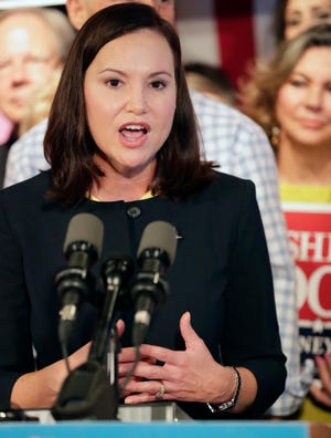 Republican candidate for attorney general Ashley Moody speaks to supporters during a rally Thursday, Sept. 6, 2018, in Orlando, Fla.