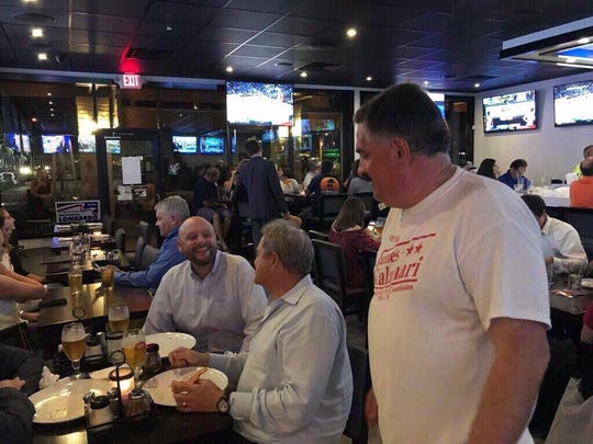 James Calamari speaks to supporters at an election results watch party at New York Pizza & Pasta in Naples on Nov. 6, 2018.