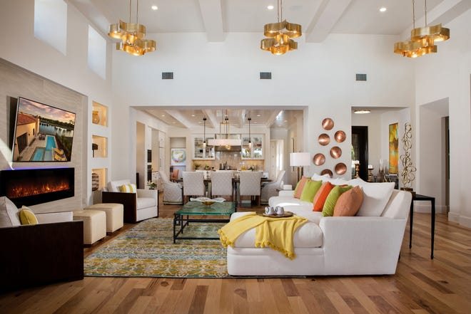 Offered for $2.885 millionfully-furnished, the two-story Capriano model is one of five models by London Bay Homes being featuredtoday.