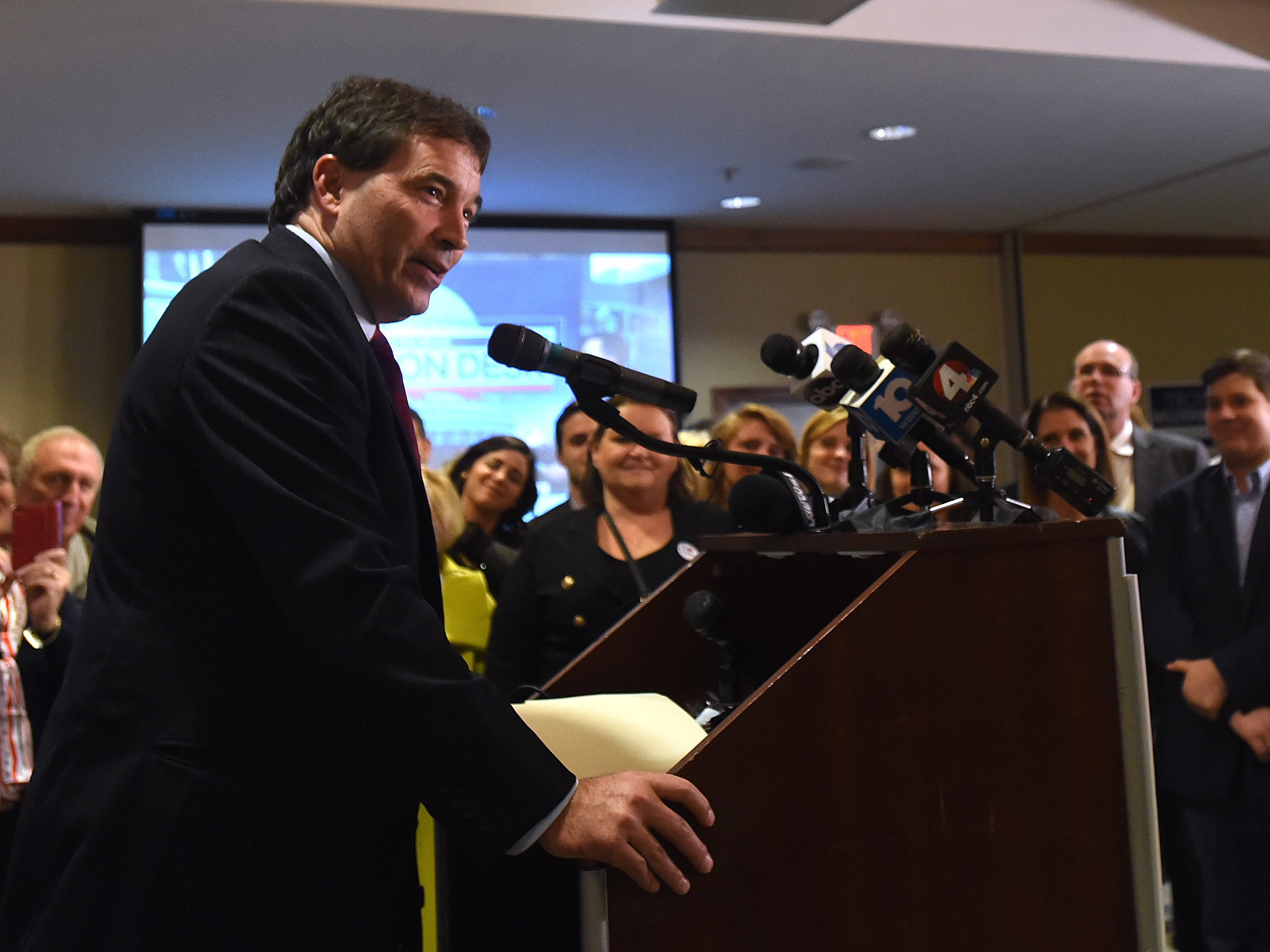 Congressman Troy Balderson thanks his supporters after winning Ohio's 12th district on Tuesday, Nov. 6, 2018.