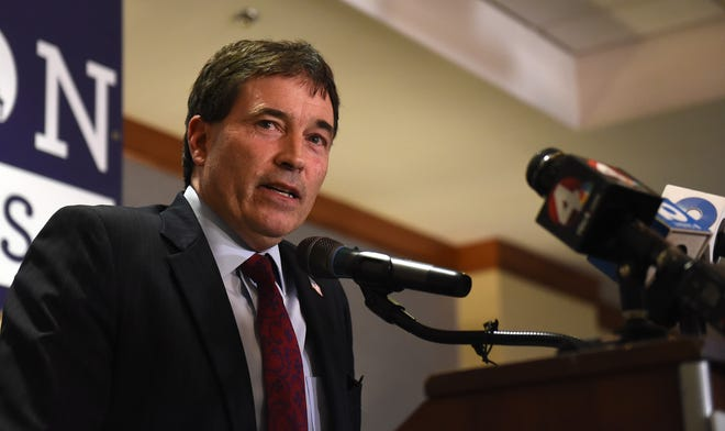 Troy Balderson, R-Zanesville, thanks his supporters after winning Ohio's 12th Congressional District on Tuesday, Nov. 6, 2018.