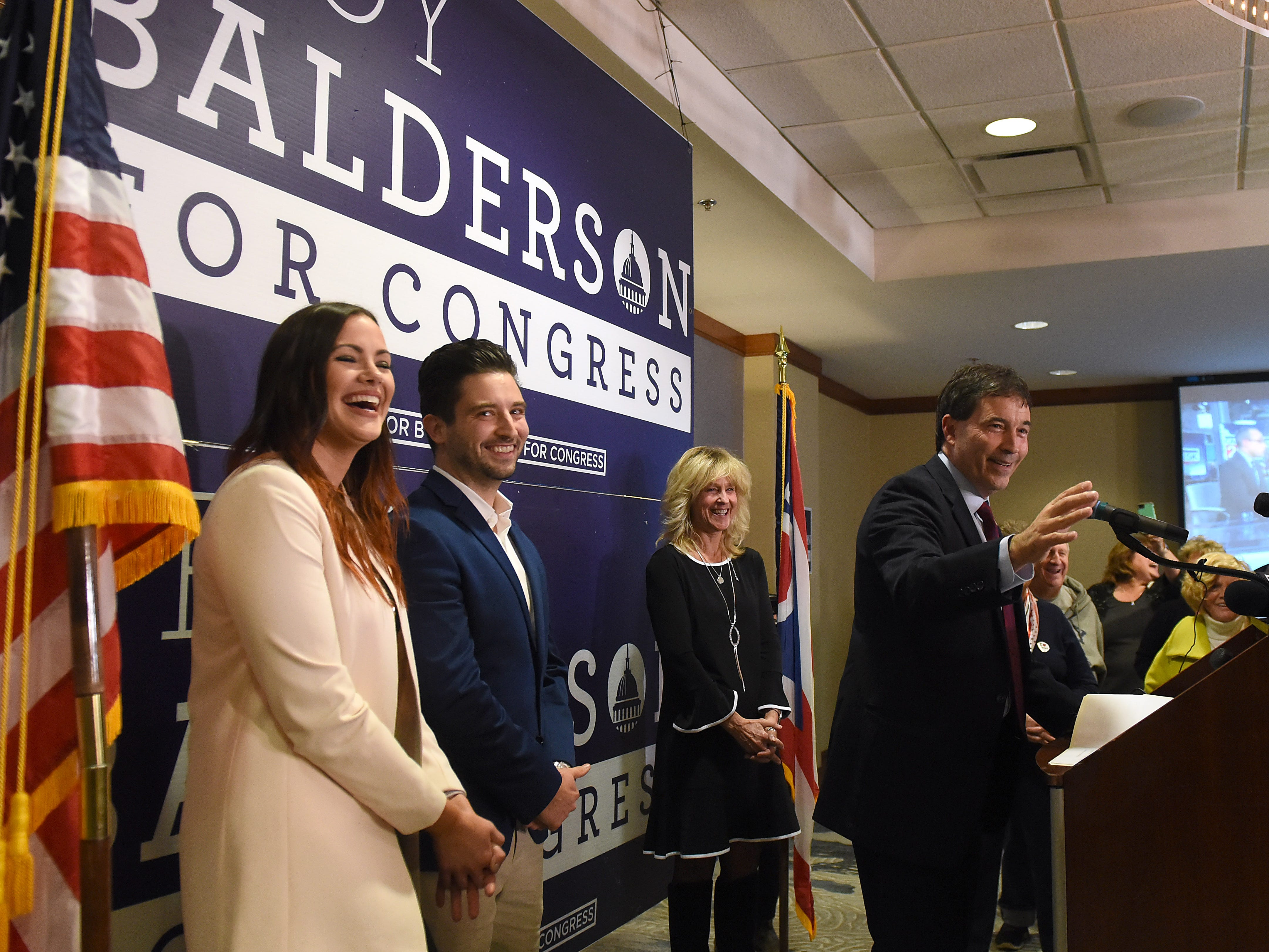 Congressman Troy Balderson thanks his supporters after winning Ohio's 12th district on Tuesday, Nov. 6, 2018. Future daughter-in-law Chelsea Gallagher, son Joshua Balderson, and girlfriend Melanie Straker joined Balderson on stage at his election night event at the DoubleTree in Newark
