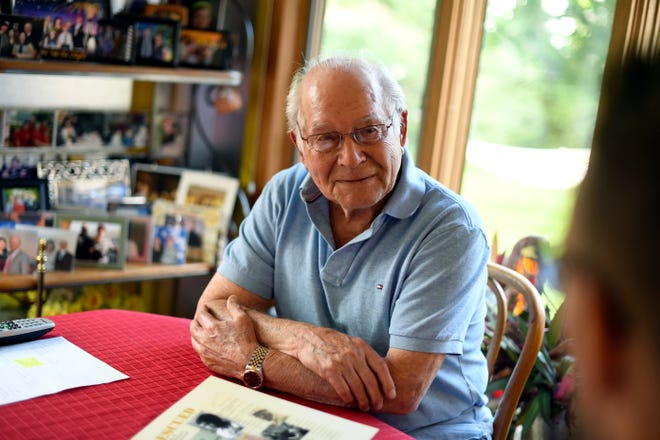 Carl Hausman of the Hidden Children Foundation, in his home in Teaneck . Hausman, a hidden child himself, lost his whole family in the Holocaust.