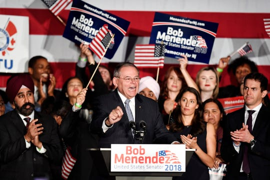 Senator Robert Menendez (D-NJ) thanks supporters during his election victory party on Tuesday, Nov. 6, 2018, in Hoboken.