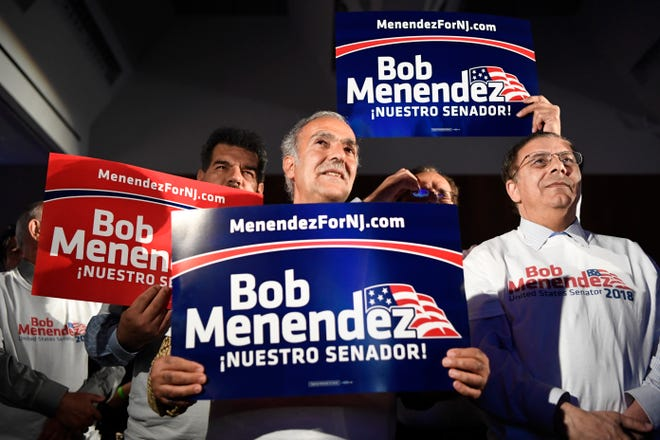 Supporters of Senator Bob Menendez wait for the results of the midterm elections during his election victory party on Tuesday, Nov. 6, 2018, in Hoboken.