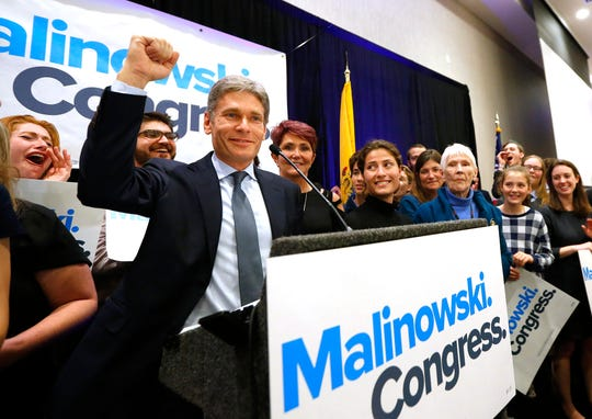 Tom Malinowski, Democratic candidate for the House of Representatives from District 7, celebrates during his election night party in Berkeley Heights, N.J., on Tuesday, Nov. 6, 2018.