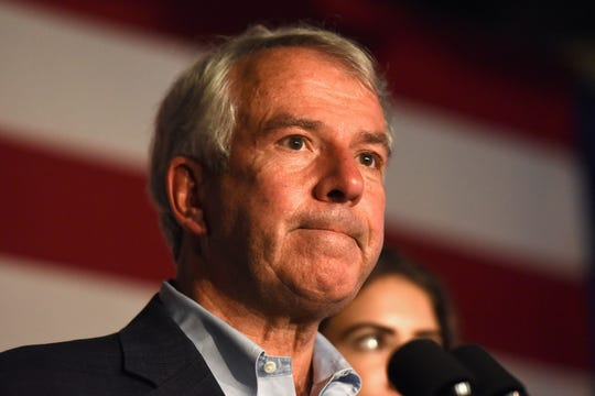 NJ U.S. Senate candidate Republican Bob Hugin gives a concession speech to his supporters at the Stage House Tavern in Mountainside on Tuesday, November, 6, 2018. Hugin lost against incumbent Senator Bob Menendez.
