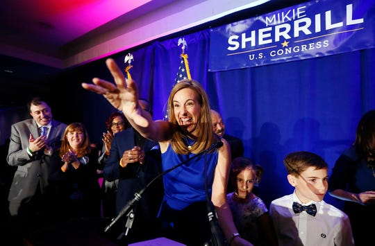 Mikie Sherrill makes her acceptance speech, winning for the Democrats a seat held by Republicans for more than 30 years. Sherrill defeated the Republican candidate, state Assemblyman Jay Webber, in the 11th District. November 6, 2018, Parsippany, NJ