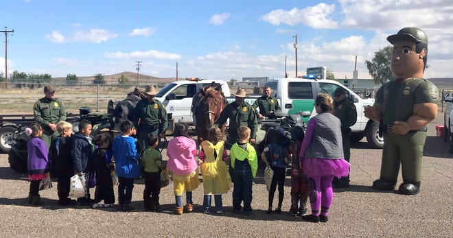 Agents of the U.S. Border Patrol joined with other first responders in Hidalgo County to visit students at Animas Elementary School on School Safety Day, Oct. 31, 2018