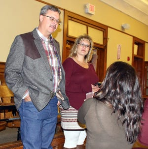 Newly elected Luna County Sheriff Kelly Gannaway interviews with headlight reporter Xchelzin Pena at the Luna County Courthouse election headquarters.