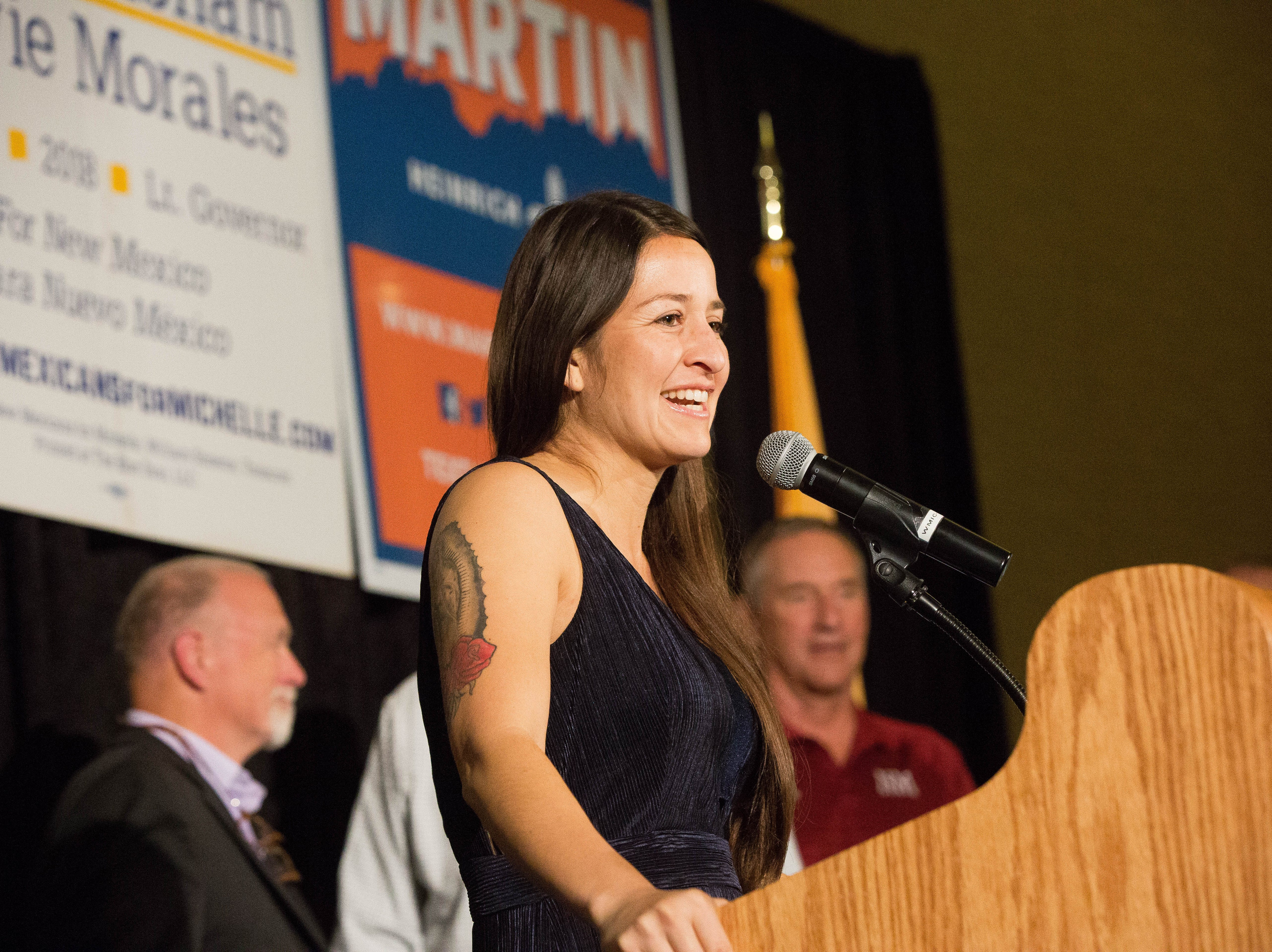 Micaela Lara Cadena, Democratic candidate for House District 33, thanks supporters on Tuesday, Nov. 6, 2018, at a Democratic watch party being held at the Las Cruces Convention Center.