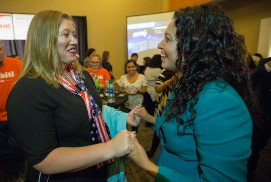 Attending a watch party at the Las Cruces Convention Center on Tuesday, Nov. 6, 2018, 2nd Congressional District candidate Xochitl Torres Small thanks supporters and volunteers, including Susie Galea, a former Republican mayor of Alamogordo, for her support during the campaign.