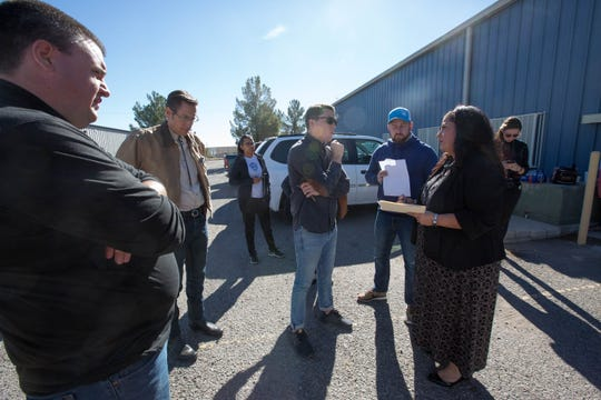 Doña Ana County Clerk Amanda López Askin, right, discusses procedures for the continued counting of absentee ballots with representatives from both the Democratic Party and Republican Party. Tallying of the outstanding ballots is taking place Wednesday, Nov. 7, 2018 at the Doña Ana County Bureau of Elections Warehouse.