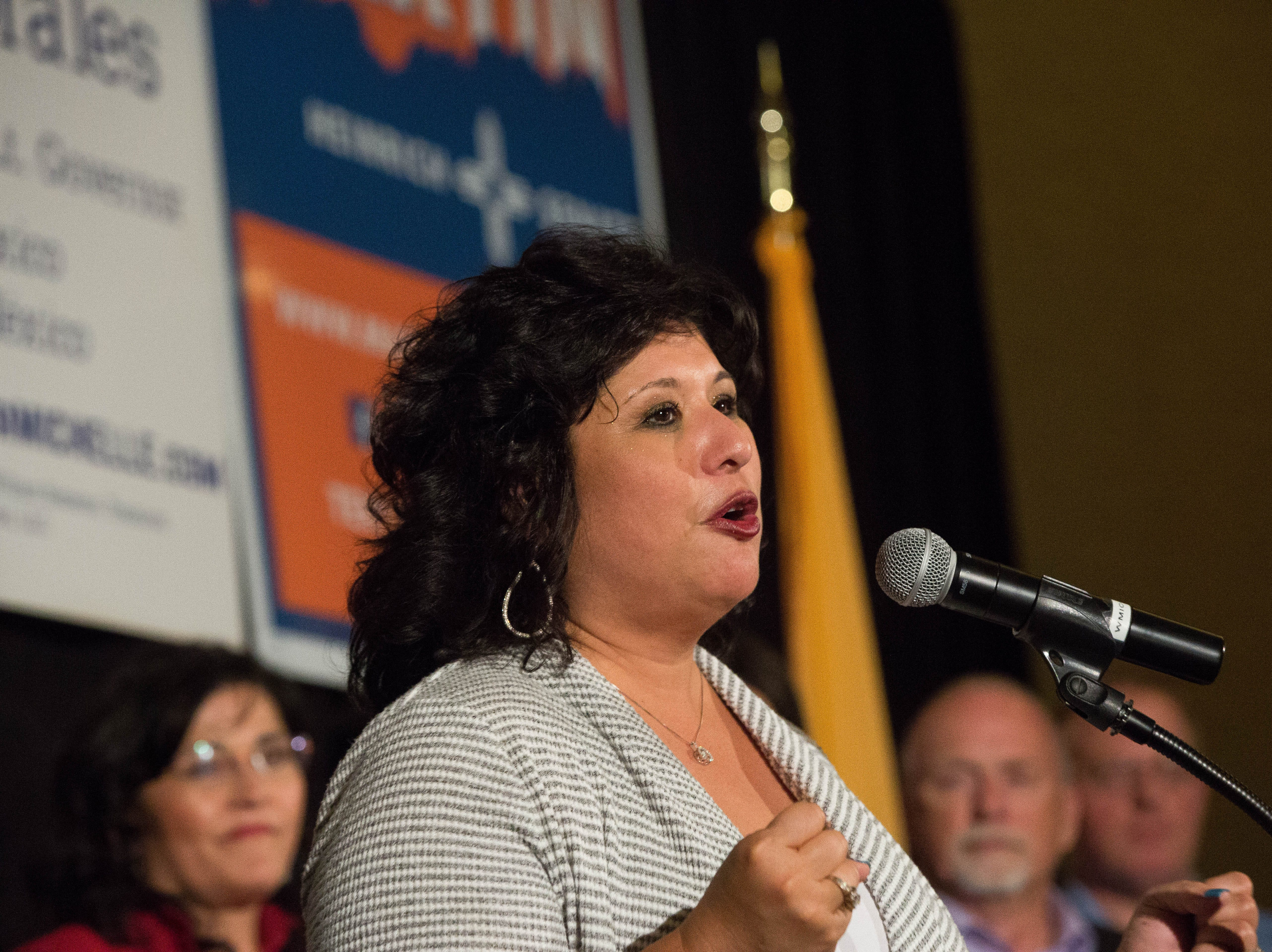 Doreen Gallegos, Democratic candidate for House District 52, speaks to supporters at a watch party at the Las Cruces Convention Center on Tuesday, Nov. 6, 2018, after winning her race against Republican David Cheek.