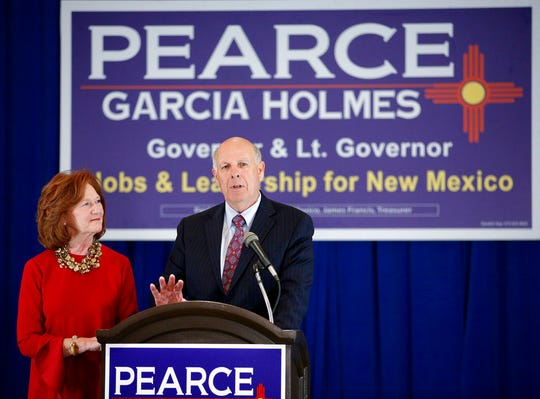 Steve Pearce, Republican candidate for Governor of New Mexico and former congressman, is accompanied by his wife Cynthia, while giving his concession speech during the mid-term election in Albuquerque, N.M., Tuesday, Nov. 6, 2018. Pearce was defeated by congressional colleague, Democrat Michelle Lujan Grisham.