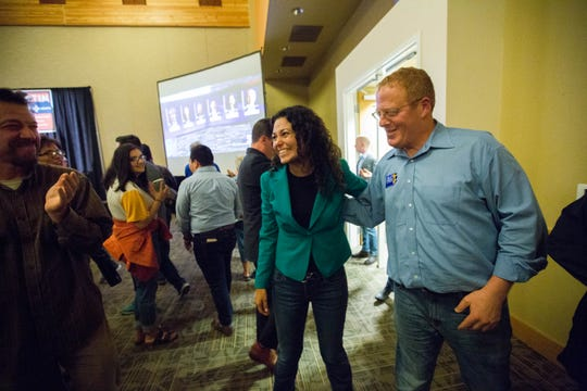 Xochitl Torres Small, Democratic candidate for the 2nd Congressional District, enters the Democrats' watch party at the Las Cruces Convention Center on Tuesday, Nov. 6, 2018. She thanked supporters and volunteers for their hard work, but said she wouldn't be making any speeches until all the numbers were in. Torres Small was vying with Republican Yvette Herrell for the seat.