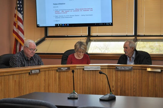 (From left)-Eddy County Board of Commissioners Larry Wood, Stella Davis and James Walterscheid start the open canvass of the 2018 midterm elections.