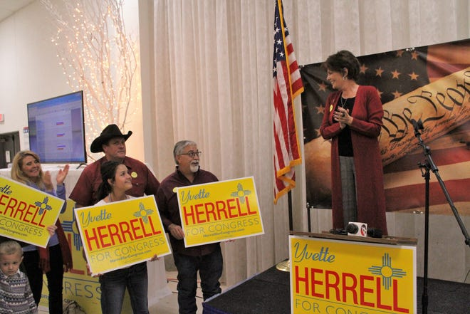 Yvette Herrell, of Alamogordo, smiles to her supporters after Herrell was projected to win the New Mexico Congressional District 2 seat.