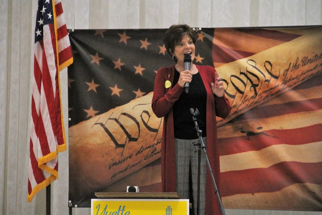 Congressional District 2 Republican candidate Yvette Herrell talks to supporters Tuesday at the Republican Party of Otero County watch party.
