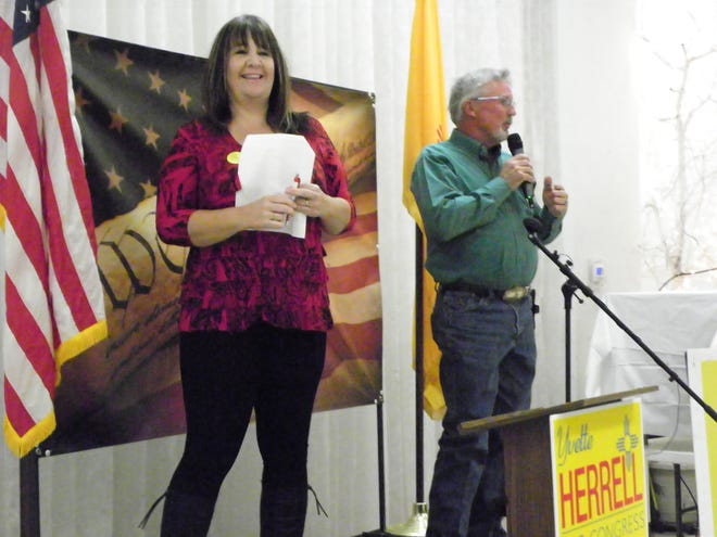 Republican Party of Otero County Chair Amy Barela beams as new Otero County Commissioner Gerald Matherly thanks his supporters for their work on his campaign.