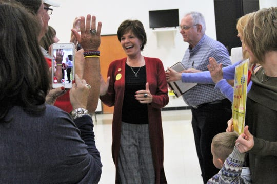 Yvette Herrell greets her supporters after being predicted to win New Mexico's Congressional District 2 seat Tuesday.