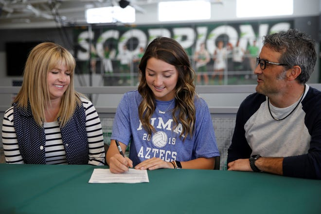 Farmington's Bergen Campbell signed with Pima Community College's volleyball program on Wednesday.