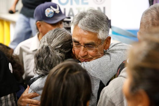 Joe Shirley Jr. receives a hug from a supporter after losing his bid for the Navajo Nation presidency on Tuesday in Window Rock, Ariz.