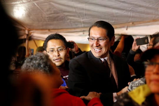 Then-Navajo Nation presidential candidate Johnathon Nez arrives to his campaign's party on Election Night in Window Rock, Ariz.