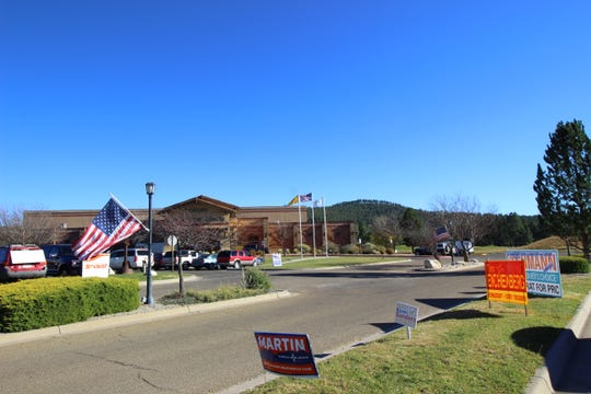 Campaign signs line the drive outside the Ruidoso Convention Center during the General Election.