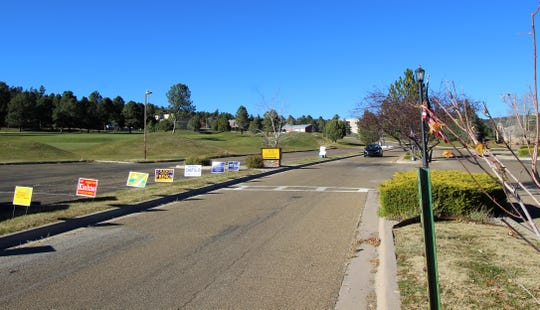 Campaign signs line the drive to the Ruidoso Convention Center during the General Elections.