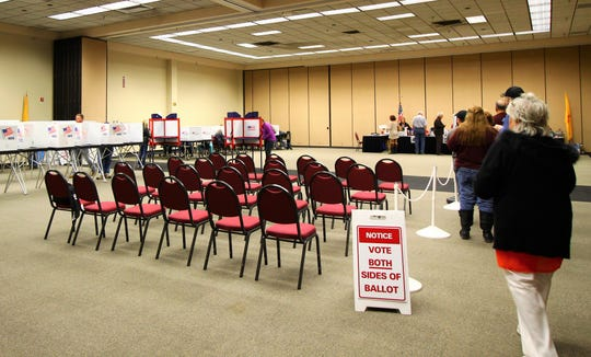 Ruidoso voters line-up at the Convention Center to cast their ballots.