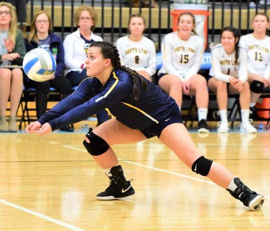 South Lyon libero Stephanie Kalinowski makes the dig in the Regional 5 semifinal against Ann Arbor Skyline.