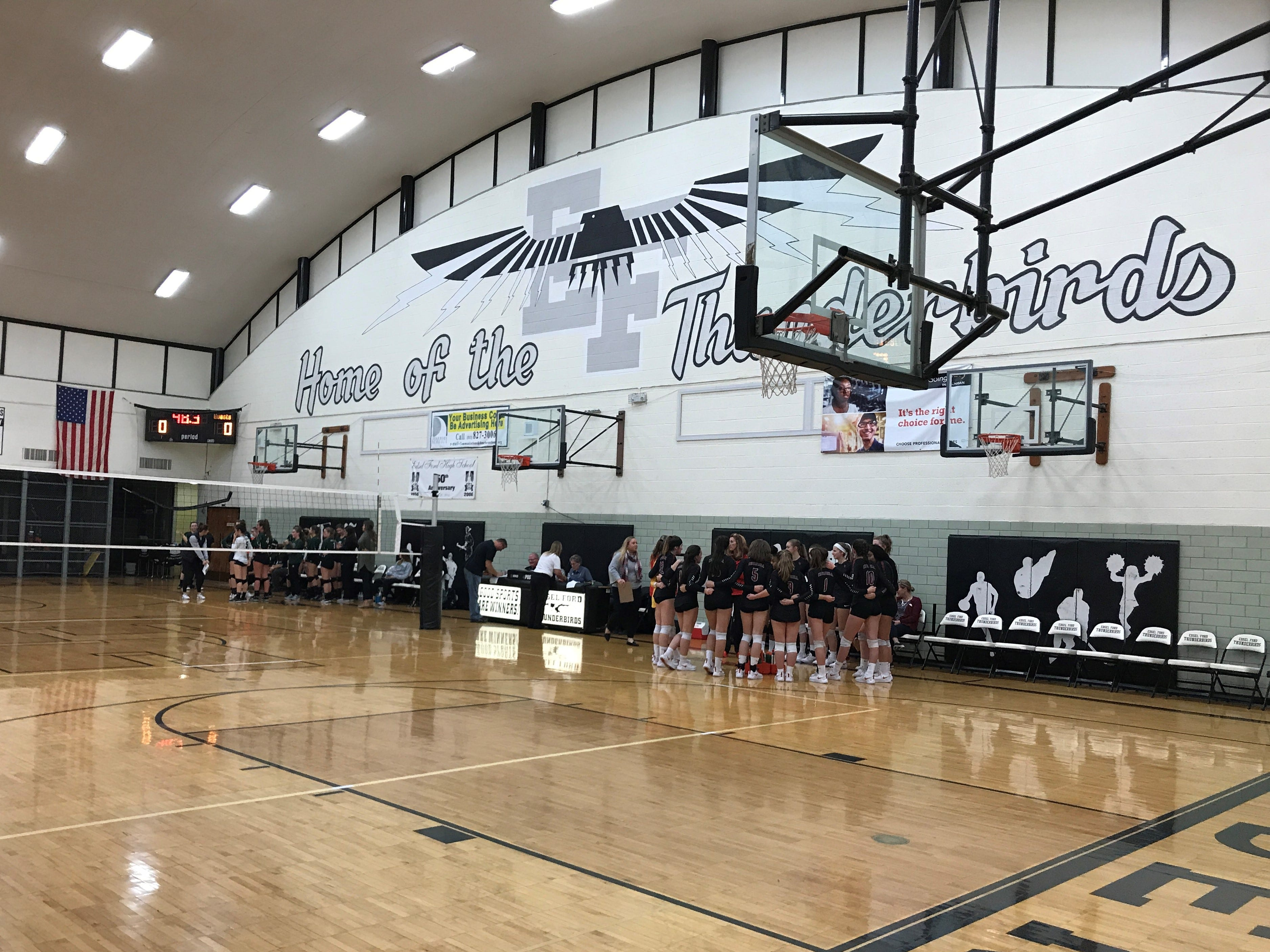A panoramic view of the Dearborn Edsel Ford gymnasium, where Allen Park and Livonia Churchill played regional volleyball on Tuesday.