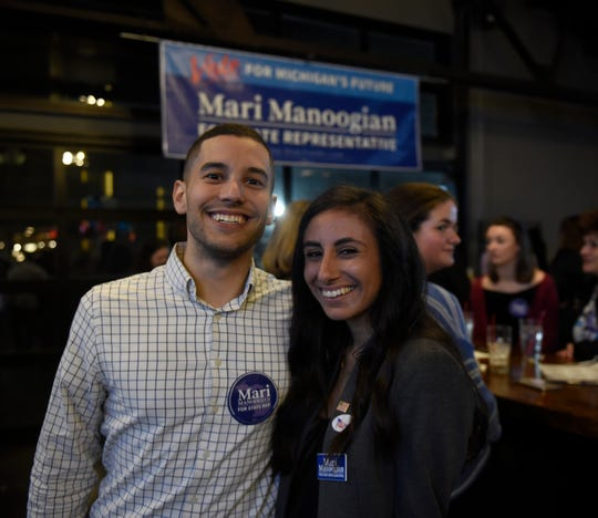 Mari Manoogian poses for a photo with her boyfriend Drew Parks at Dick O'Dow's during election night party Nov. 6, 2018.
