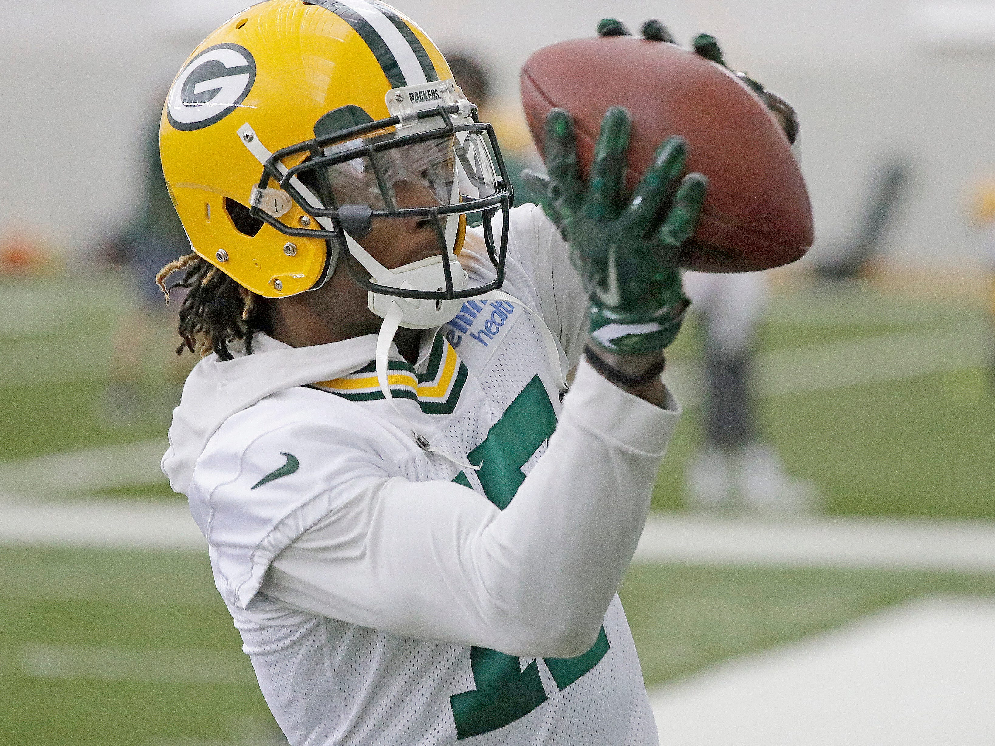 Green Bay Packers wide receiver Davante Adams (17) during ball drills during practice Wednesday, November 7, 2018 at the Don Hutson Center in Ashwaubenon, Wis.