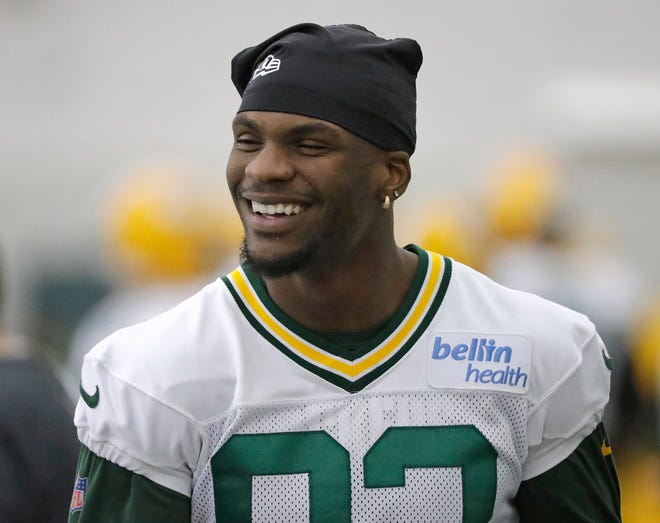 Green Bay Packers Green Bay Packers wide receiver Marquez Valdes-Scantling (83) smiles during practice Wednesday, November 7, 2018 at the Don Hutson Center in Ashwaubenon, Wis.