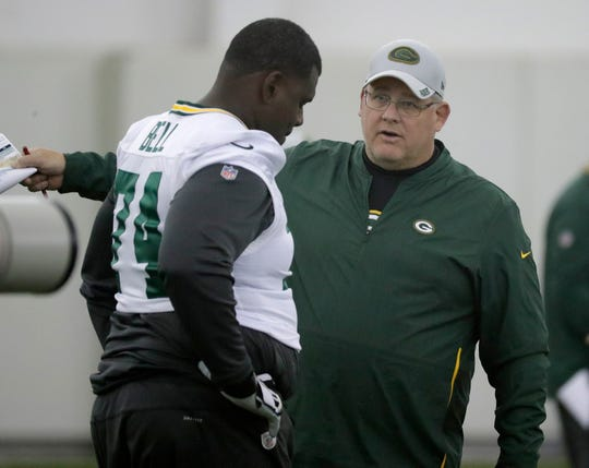 Green Bay Packers offensive guard Byron Bell (74) talks with line coach James Campen during practice Wednesday, November 7, 2018 at the Don Hutson Center in Ashwaubenon, Wis.
