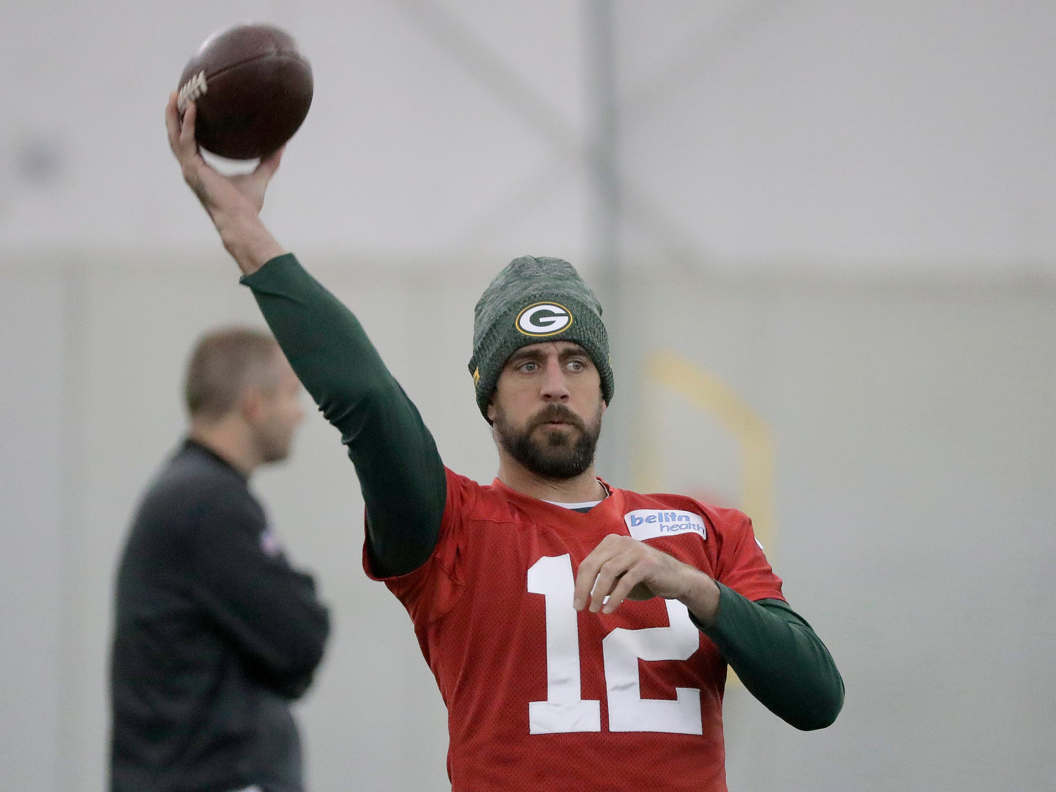 Green Bay Packers quarterback Aaron Rodgers (12) during practice Wednesday, November 7, 2018 at the Don Hutson Center in Ashwaubenon, Wis.