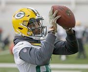 Green Bay Packers wide receiver J'Mon Moore (82) during practice Wednesday, November 7, 2018 at the Don Hutson Center in Ashwaubenon, Wis.