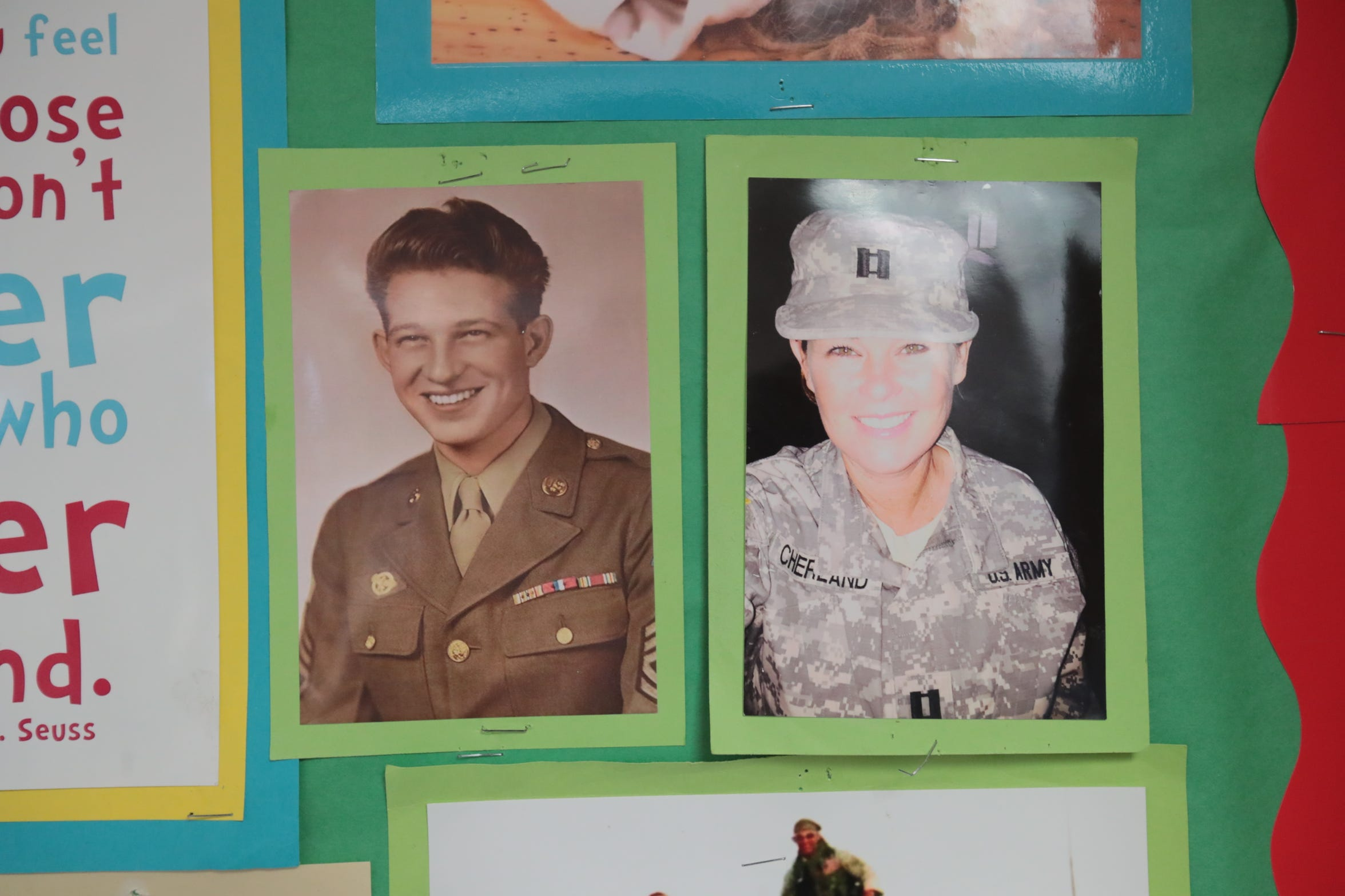 Photo of retired U.S. Army Reserve Capt. Michelle Cherland and her grandfather hangs in her class room on Wednesday, November 7, 2018 in Palm Desert.